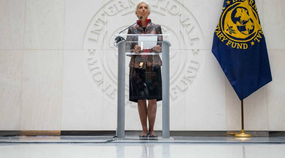 International Monetary Fund Managing Director Christine Lagarde speaks during a press conference at the IMF Headquarters on Friday in Washington, D.C.