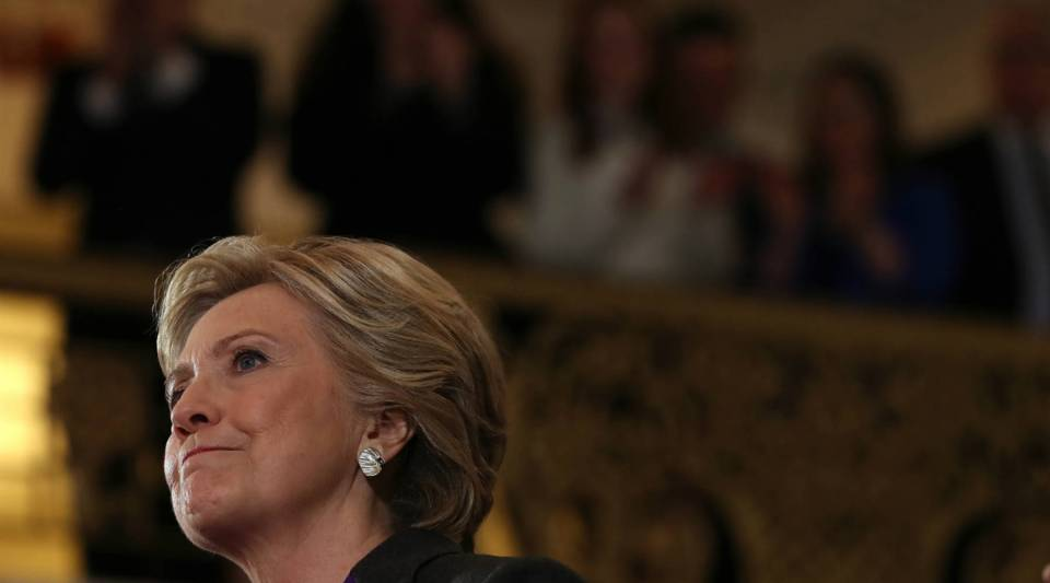 Hillary Clinton speaks during a news conference at the New Yorker Hotel on Nov. 9 in New York City. Clinton conceded the U.S. presidency to Republican challenger Donald Trump.