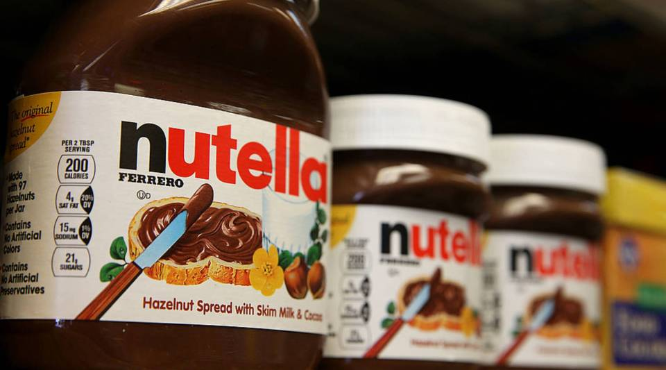 Jars of Nutella are displayed on a shelf at a market in San Francisco, California.