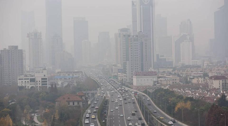 Elevated motorways in Shanghai on, 2015.