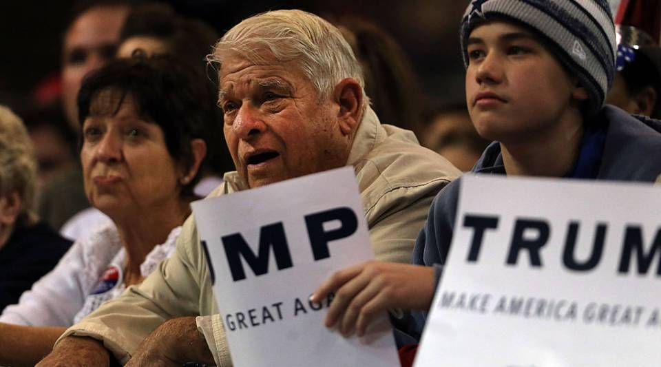 Donald Trump supporters listen to him speak at the Mississippi Coast Coliseum on January 2, 2016 in Biloxi, Mississippi.