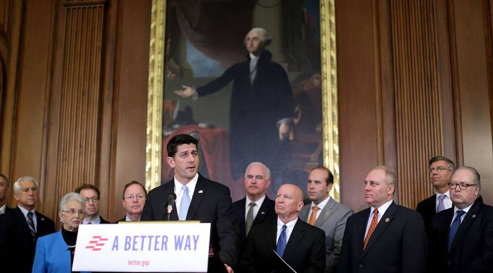 Speaker of the House Paul Ryan addresses a news conference to introduce the House Republicans' tax reform proposal with House Ways and Means Committee Chairman Kevin Brady and House Majority Whip Steve Scalise in the Rayburn Room at the U.S. Capitol June 24, 2016 in Washington, DC.