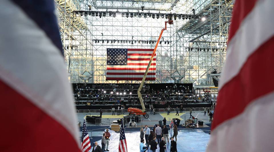 The stage is seen as workers prepare the Jacob K. Javits Center for Democratic presidential nominee Hillary Clinton's election night event in New York City. Clinton's event will cap a contentious campaign against Republican presidential nominee Donald Trump.