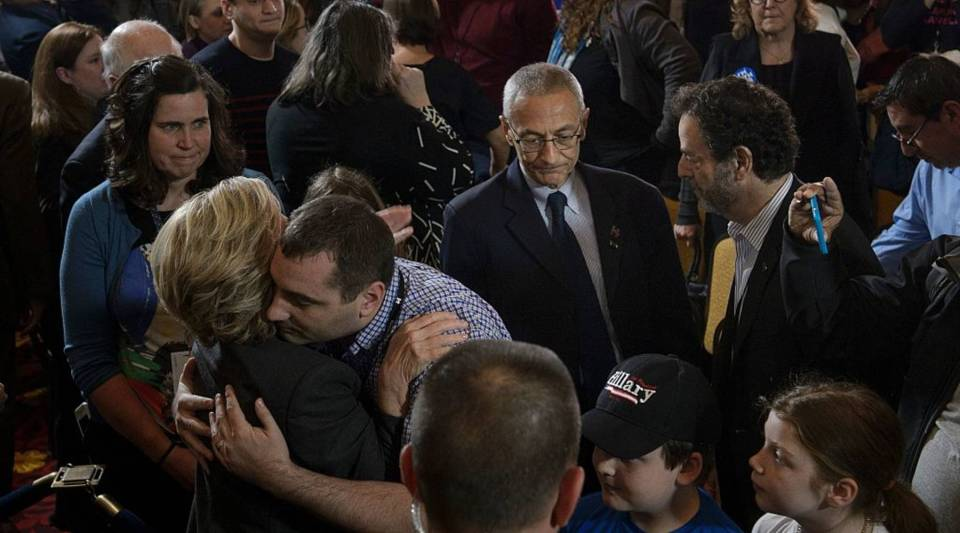 Hillary Clinton greets staff and supporters after addressing them at the New Yorker Hotel after her defeat in the presidential election.