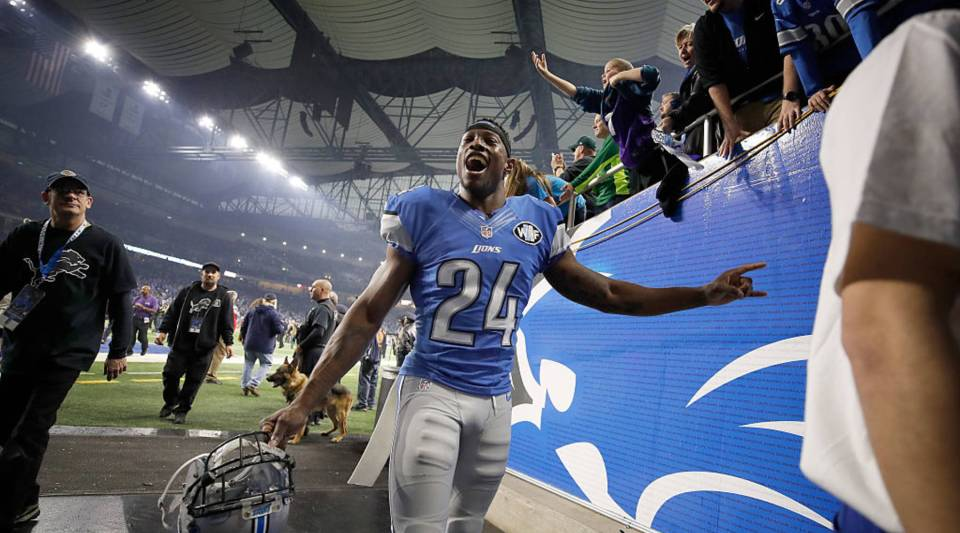 Nevin Lawson of the Detroit Lions leaves the field after the Lions kicked a game winning field goal to defeat the Minnesota Vikings 16- 3 at Ford Field on November 24, 2016 in Detroit, Michigan.
