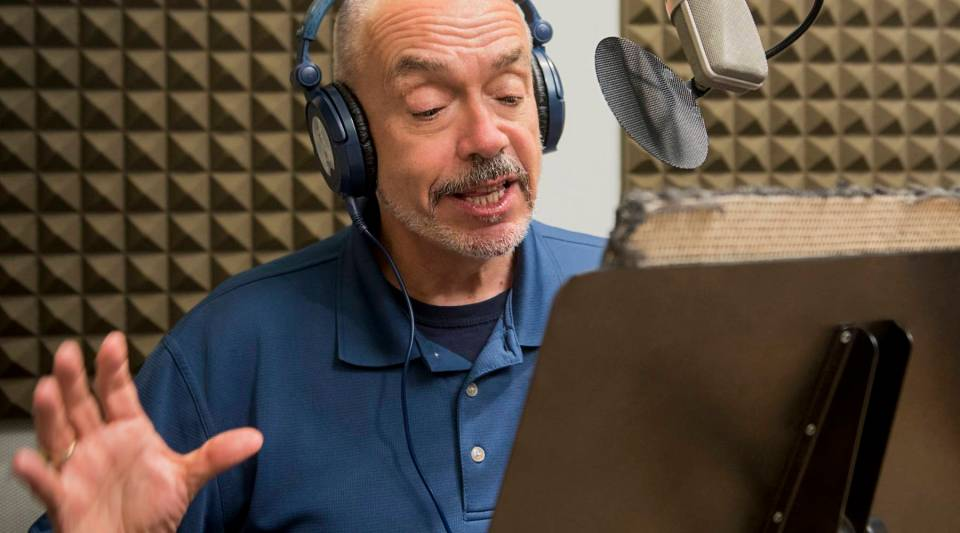 "Wally Lamb in the recording studio, laying down some Voice Overs for the ""I'll Take You There"" Metabook."