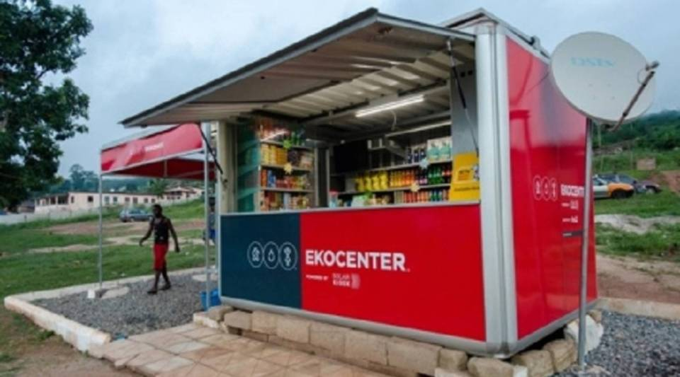 Coca-Cola's EKOCENTERS offer water purification and power outlets free of charge.  They also sell Coke products.