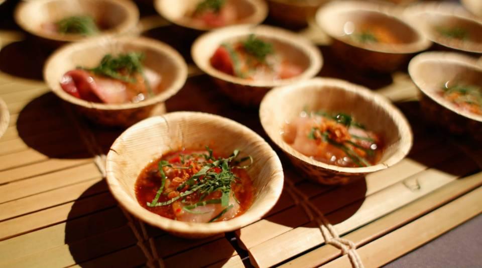 A hamachi sashimi dish.