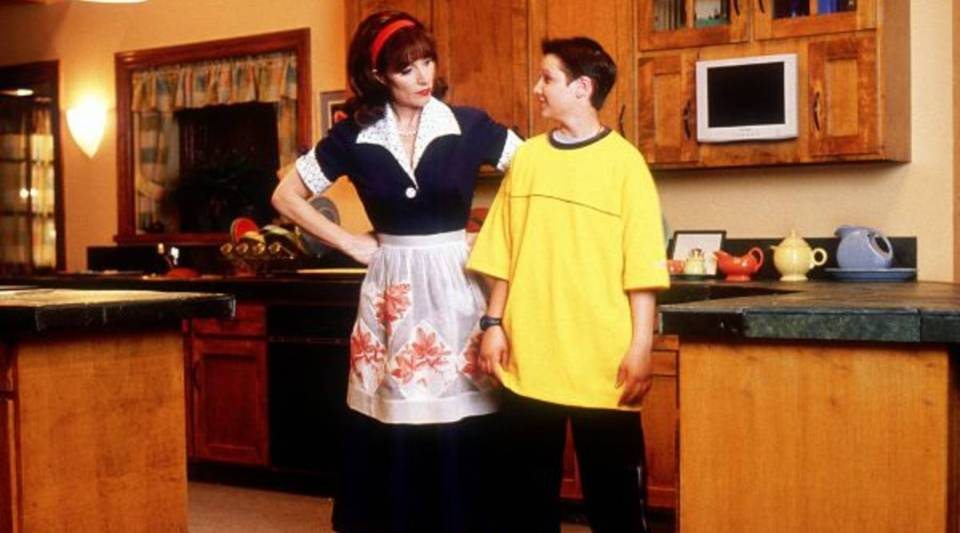 "Ryan Merriman as Ben Cooper and Katey Sagal as virtual assistant Pat in ""Smart House,"" directed by LeVar Burton."