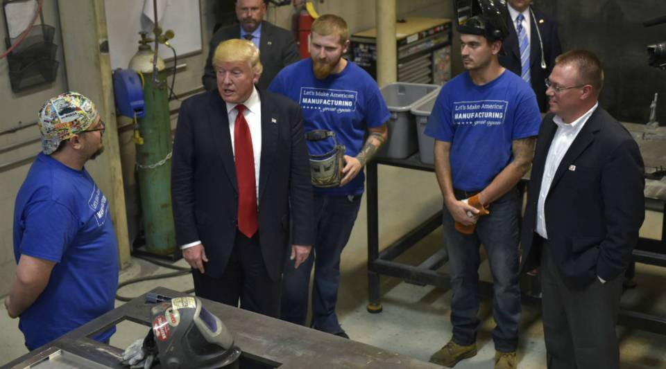 President-elect Donald Trump chats with workers during a tour of Staub Manufacturing Solutions in Dayton, Ohio back in September.