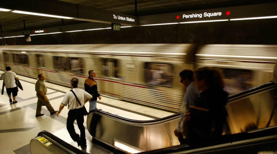 Passengers wait for Metro Rail subway trains during rush hour in Los Angeles, California.