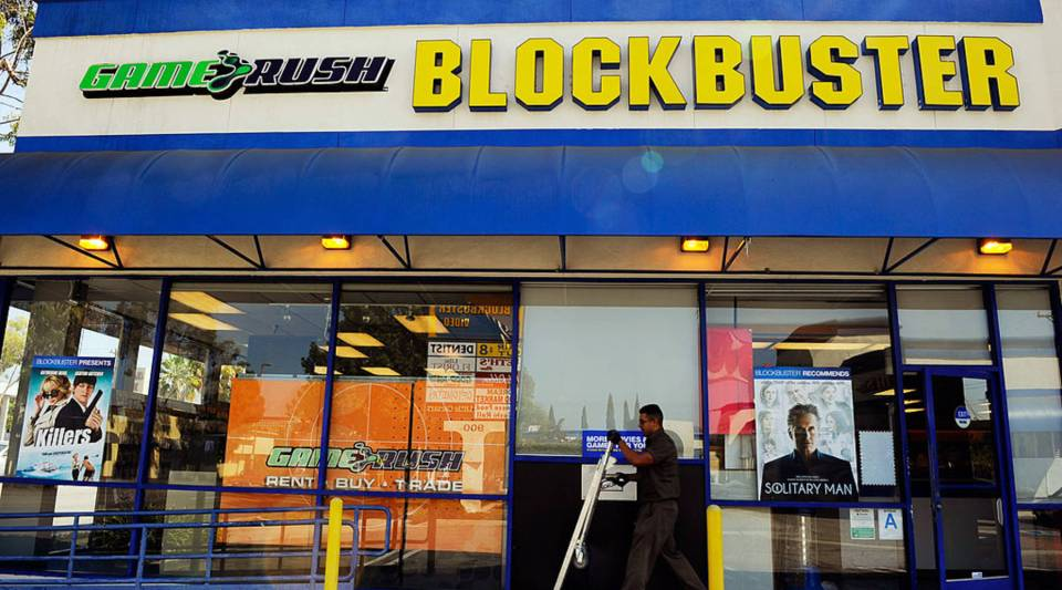 A UPS driver makes a delivery at Blockbuster store on September 23, 2010 in Glendale, California. That year, the video-rental business filed for Chapter 11 bankruptcy, facing rigorous competition and reportedly more than $1 billion in debt. But in a thriving nostalgia market, many stores like Blockbuster may see an unexpected resurgence.