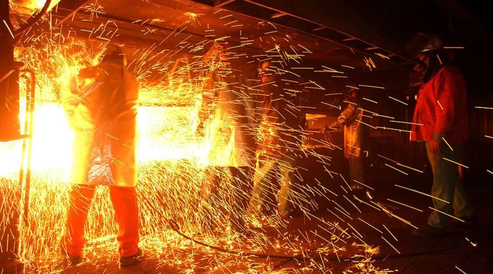 A steel mill in California, 2002.