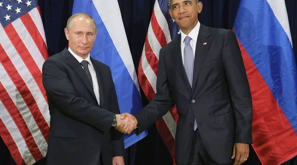 Russian President Vladimir Putin and U.S. President Barack Obama shake hands for the cameras before the start of a bilateral meeting at the United Nations headquarters September 28, 2015 in New York City.
