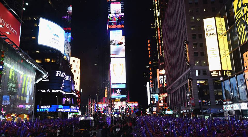 Confetti display atop Times Square at Midnight during the Dick Clark's New Year's Rockin' Eve with Ryan Seacrest 2016 on December 31, 2015 in New York City.