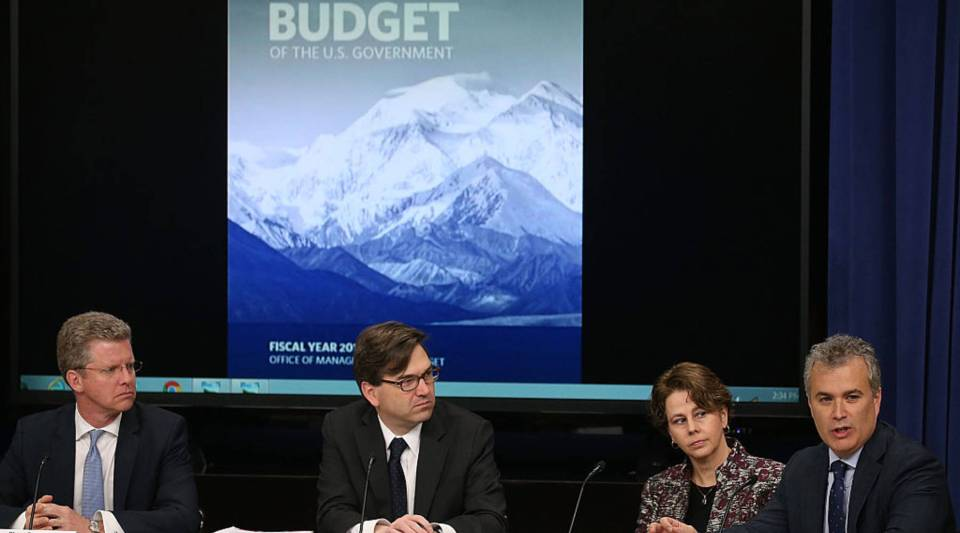 Shaun Donovan, OMB Budget Director, Jason Furman, Chairman of the Council of Economic Advisers, Cecilia Muoz, Director of the Domestic Policy Council and Jeff Zients, Director of the National Economic Council, participate in a briefing on President Obama's FY 2017 budget request, at the White House, February 8, 2016 in Washington, DC.