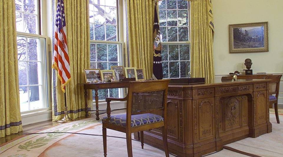 This photo shows the desk used by US President George W. Bush, 30 January 2001, in the Oval Office of the White House in Washington, D.C.