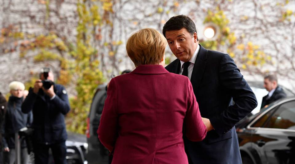 German Chancellor Angela Merkel greets Italian Prime Minister Matteo Renzi upon his arrival for talks with European leaders at the Chancellery on November 18, 2016 in Berlin, Germany.