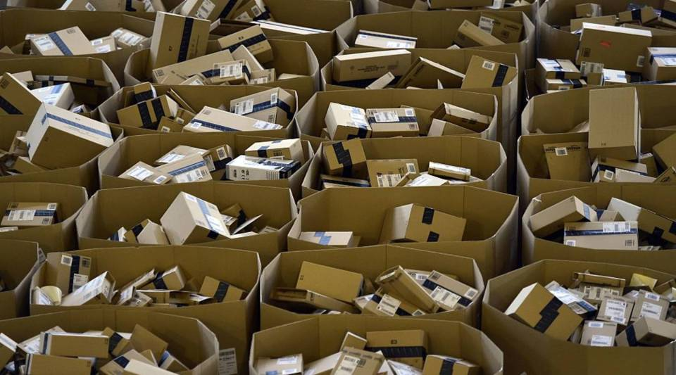Packages are stored at the Amazon electronic commerce company's logistics center in San Fernando de Henares, near Madrid, on the eve of 'Black Friday', on November 24, 2016.