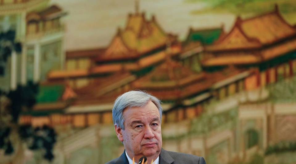 United Nations Secretary General-designate Antonio Guterres looks on during a joint press conference with Chinese Foreign Minister Wang Yi at the foreign ministry on Nov. 28, 2016 in Beijing, China.