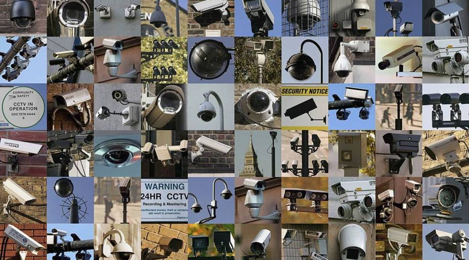 In this combination image closed circuit television cameras look down on central London on November 2, 2006, London, England.