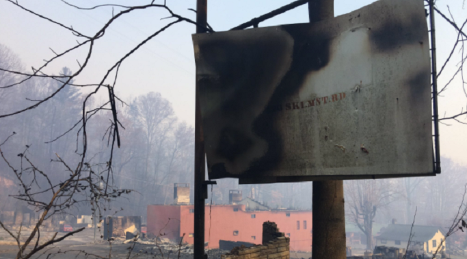 A burned sign and structures in Gatlinburg.