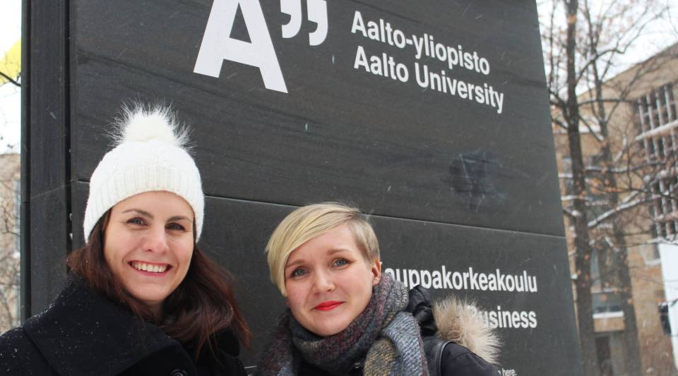 Tiina Vaahtio and Verna Vuoripuro both attend Aalto University's business school. Universities in Finland have already laid off staff, anticipating government funding cuts.