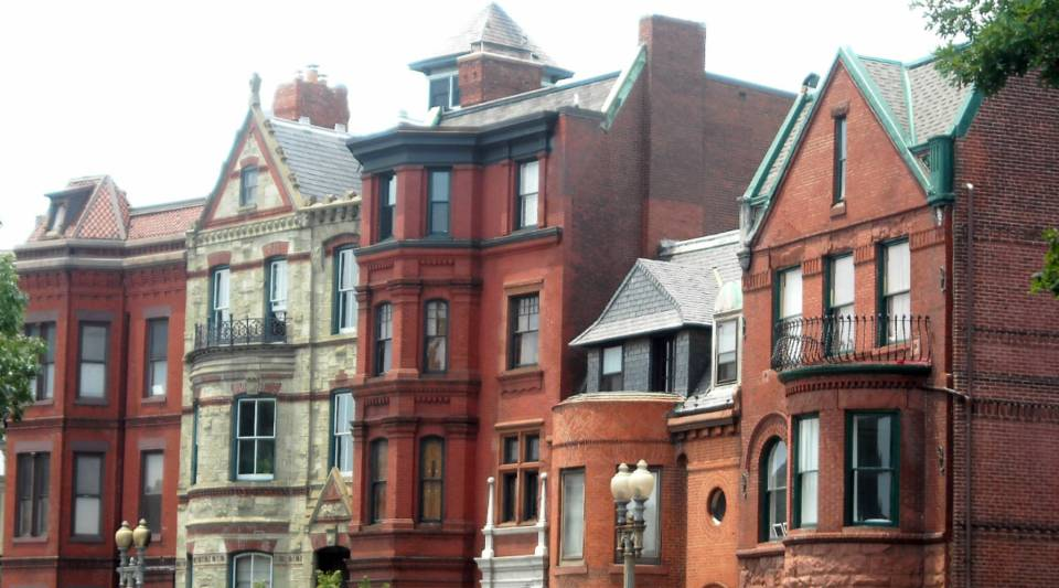 A view of historic homes on Logan Circle in Washington, D.C.