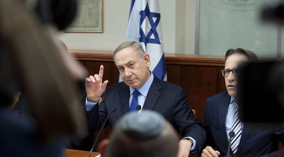 Israeli Prime Minister Benjamin Netanyahu chairing a weekly cabinet meeting in Jerusalem on Sunday.