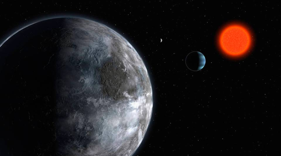 An artist's impression of the planetary system around the red dwarf Gliese 581.