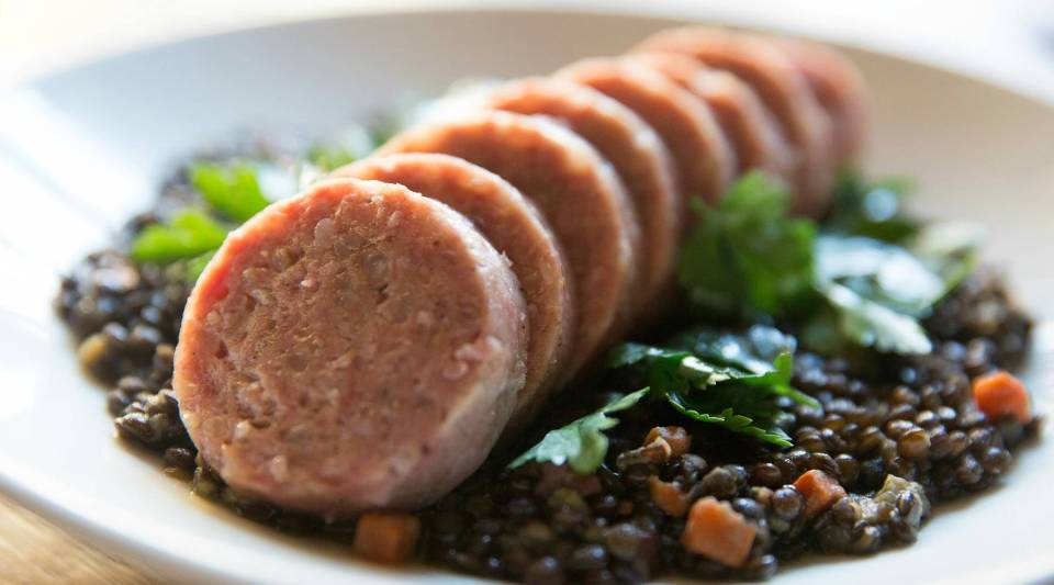 Cotechino with lentils by Chef Steve Samson.