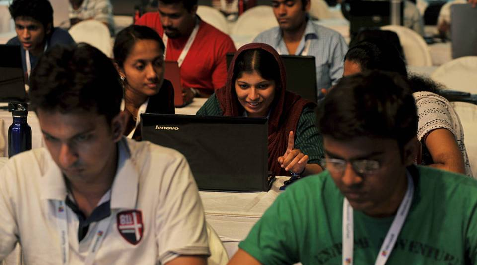 Indian participants take part in the 'Windows AppFest', a marathon coding for 18 hours by more than 3500 software developers organised by Microsoft in Bangalore on September 21, 2012.90% of Indian technology workers employed in the United States use H1B visas.