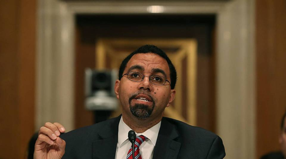 Dr. John King, speaks during his Senate confirmation hearing to become Education secretary, on Capitol Hill, February 25, 2016 in Washington, DC. If confirmed by the US Senate, Dr. King will replace outgoing Education Secretary Arne Duncan.