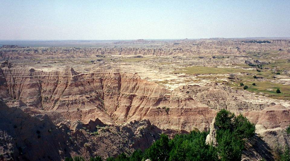 This August, 2001 photo shows the vast expanse of the Badlands National Park in South Dakota.