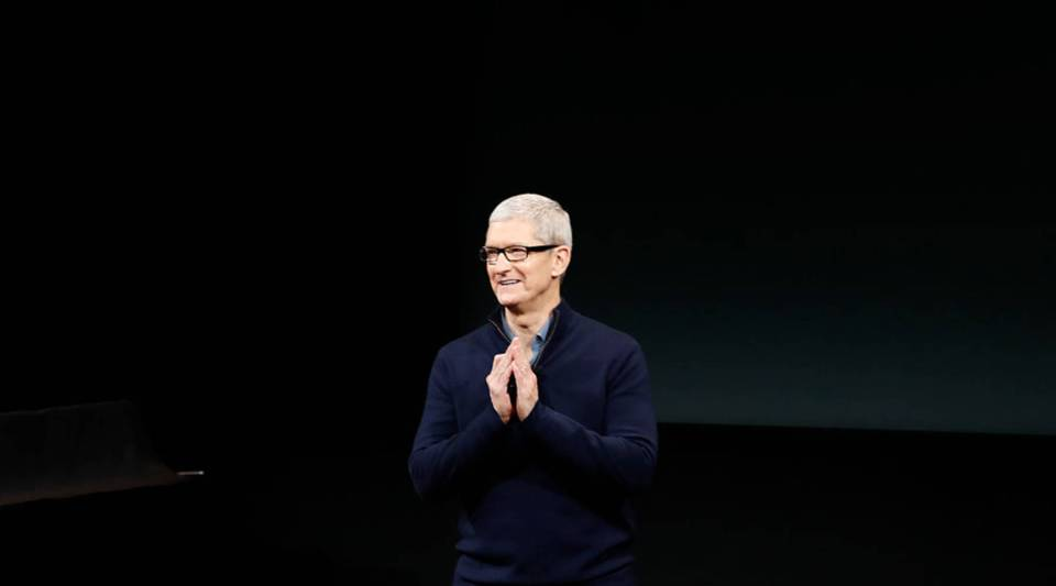 Apple CEO Tim Cook speaks on stage during an Apple product launch event on October 27, 2016 in Cupertino, California.