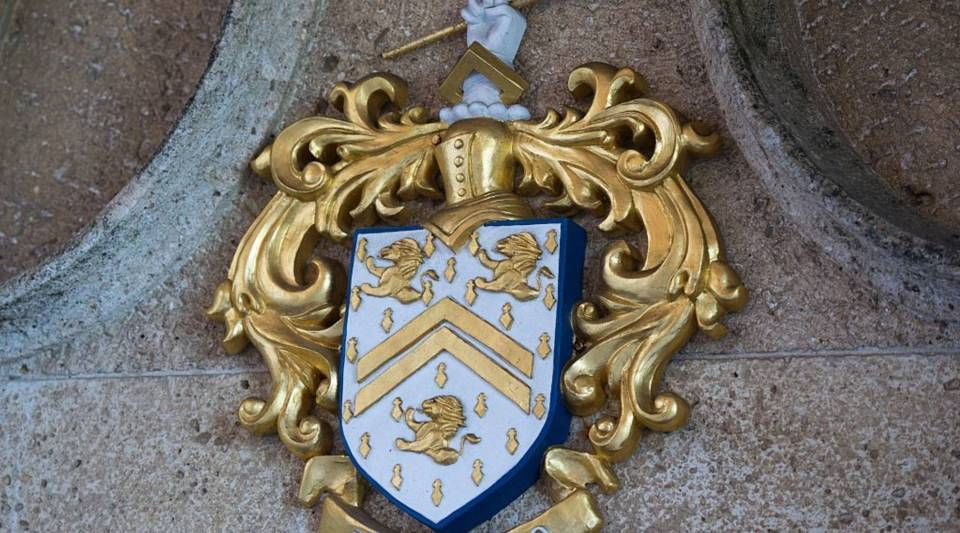 A coat of arms at Mar-a-Lago in Palm Beach, Florida.