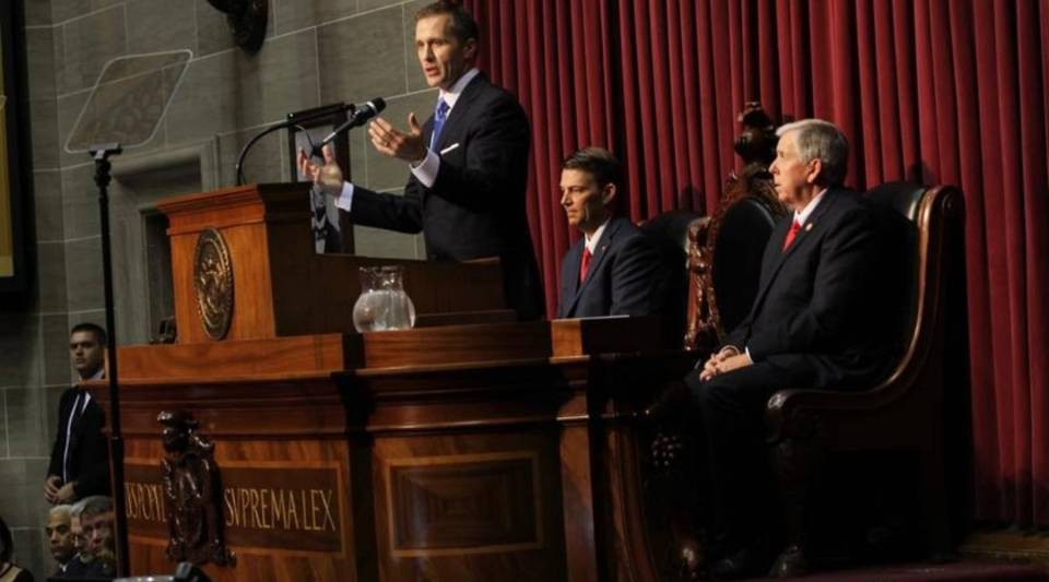 Missouri Gov. Eric Greitens makes his State of the State speech on Jan. 17. Greitens supports a right-to-work measure, which would bar unions and employers from requiring workers to pay dues.