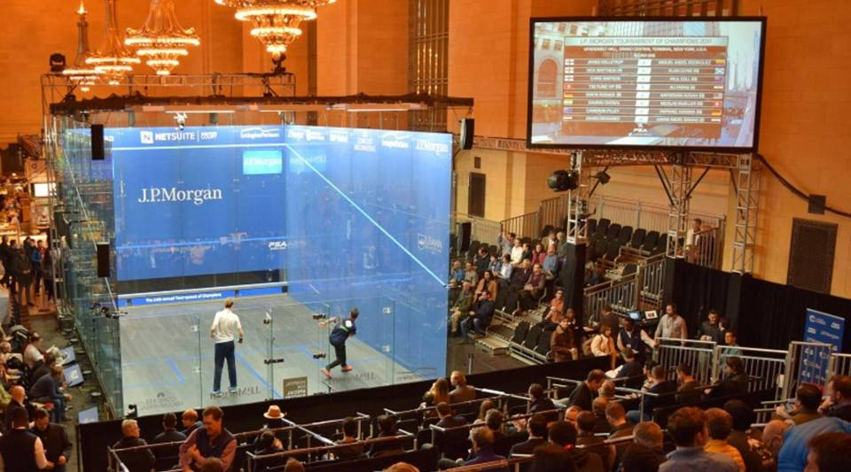 The Professional Squash Association 2017 Tournament Of Champions is played in Vanderbilt Hall at Grand Central Station.
