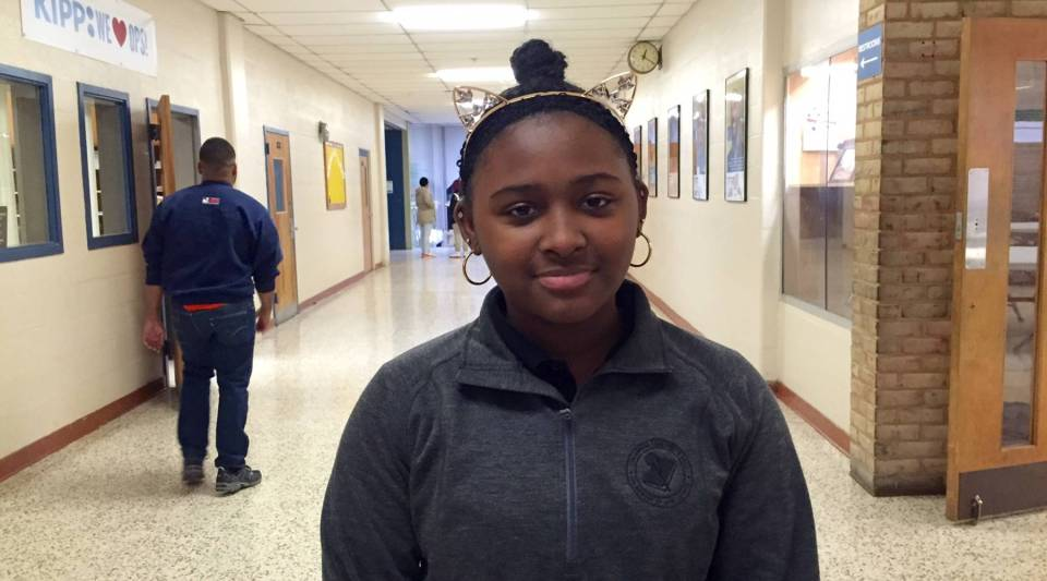 Julieanna Nelson-Saunders, 11, attends KIPP Ujima Village Academy, a public charter middle school in Baltimore.