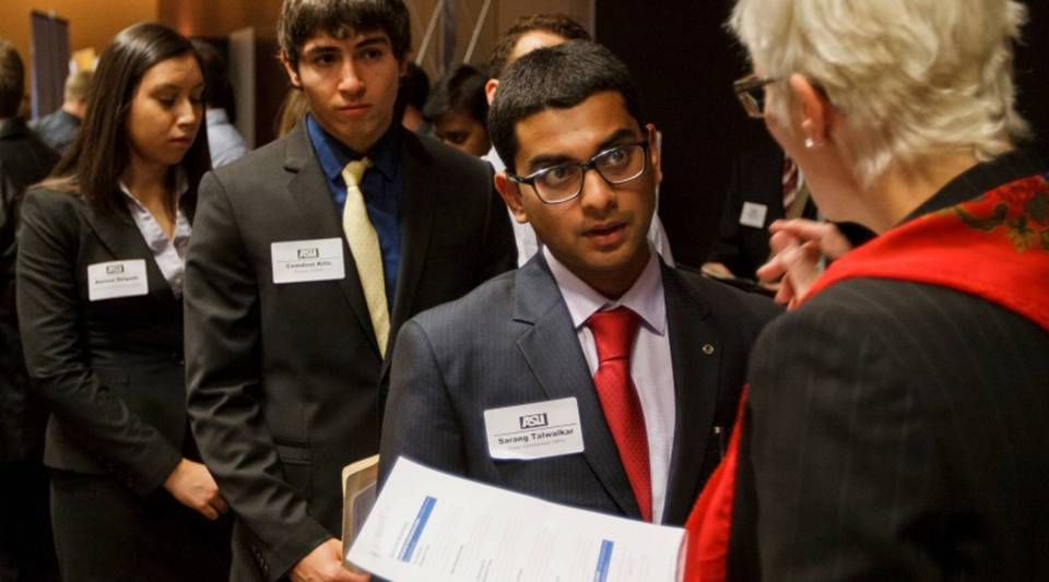 Arizona State University's international student population has more than doubled in the past five years, from nearly 5,000 in 2011 to more than 12,000 in 2016. These students attended an ASU career fair in 2013.