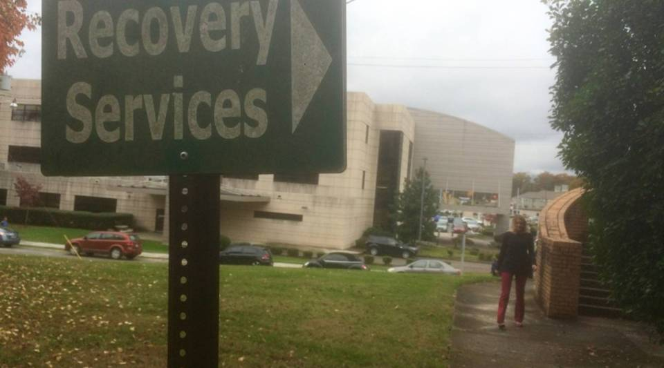"""The """"recovery services"""" sign at an addiction center in East Tennessee."""
