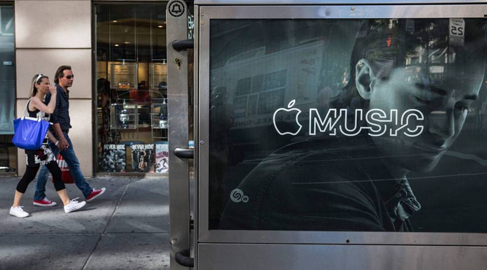 An advertisement for Apple Music on the streets of Manhattan.