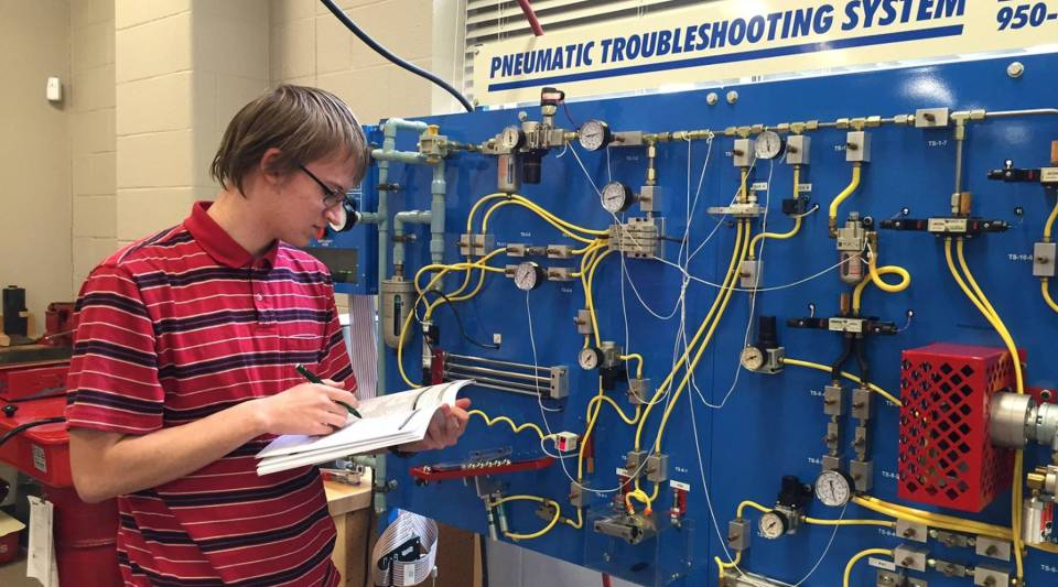 Benjamin Eckenrode, 18, is taking advanced manufacturing courses at Reading Area Community College while still in high school.