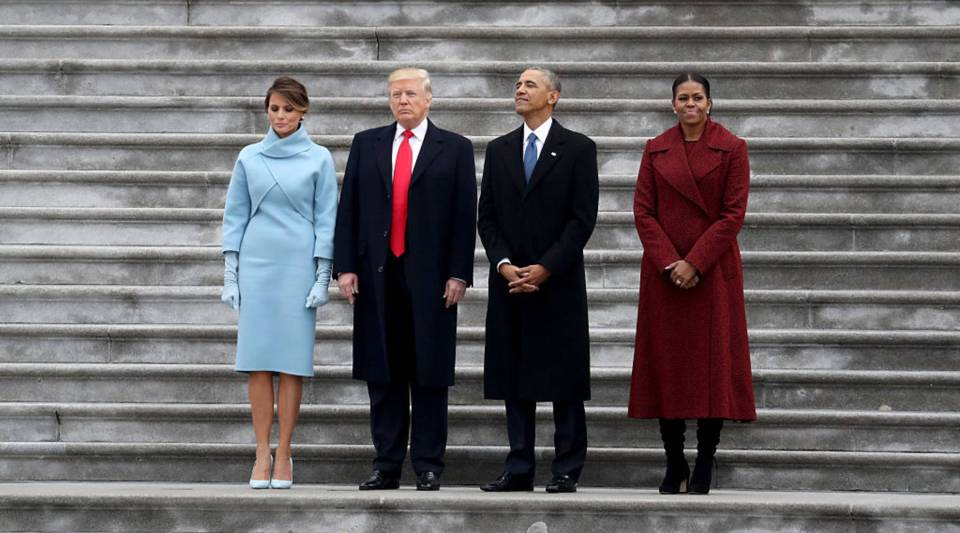 From left, First Lady Melania Trump, President Donald Trump, former President Barack Obama and former First Lady Michelle Obama stand on the steps of the U.S. Capitol on Inauguration Day.