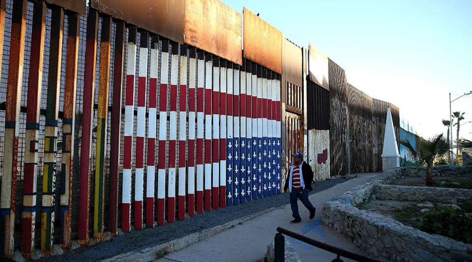 A view of the US-Mexican border fence at Playas de Tijuana in Tijuana, Mexico, in January.