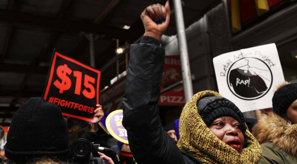 Protesters gathered at a rally for minimum wage in New York City.