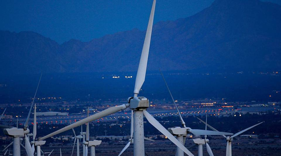 Philip Anschutz plans to build wind turbines in Wyoming, like these turbines near Palm Springs, California, and sell electricity to the California market.