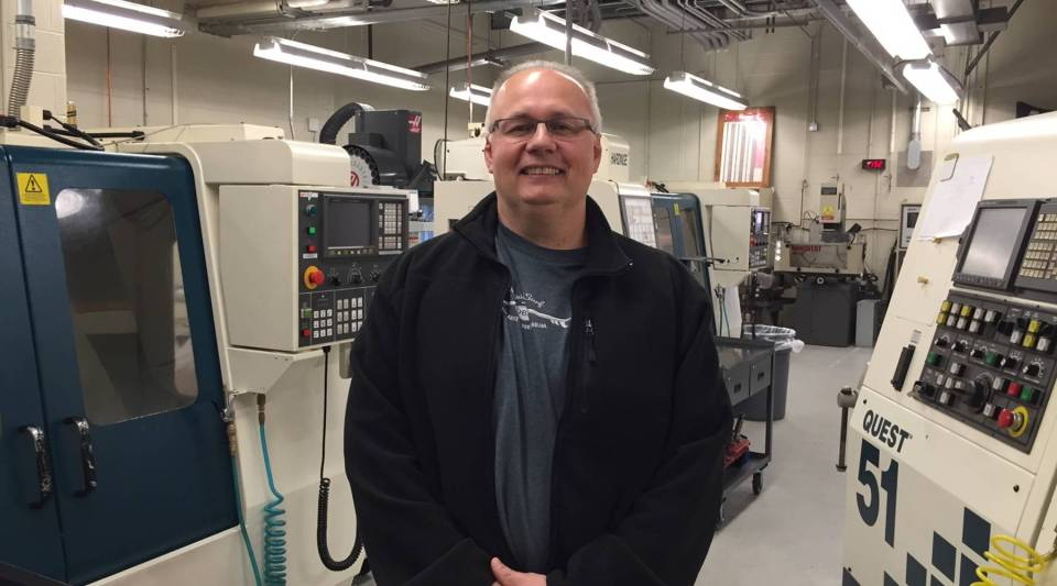Joe Snyder, 56, recently graduated from a precision machining technology program at Berks Career and Technology Center near Reading, Pennsylvania.