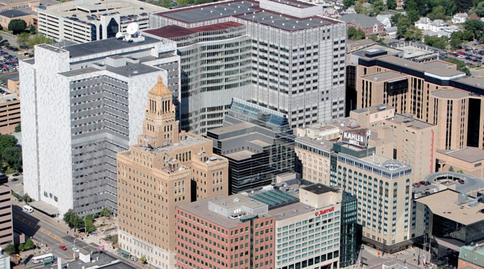 The Mayo Clinic, located in downtown Rochester, Minnesota, is part of an effort to spur innovation and economic development.