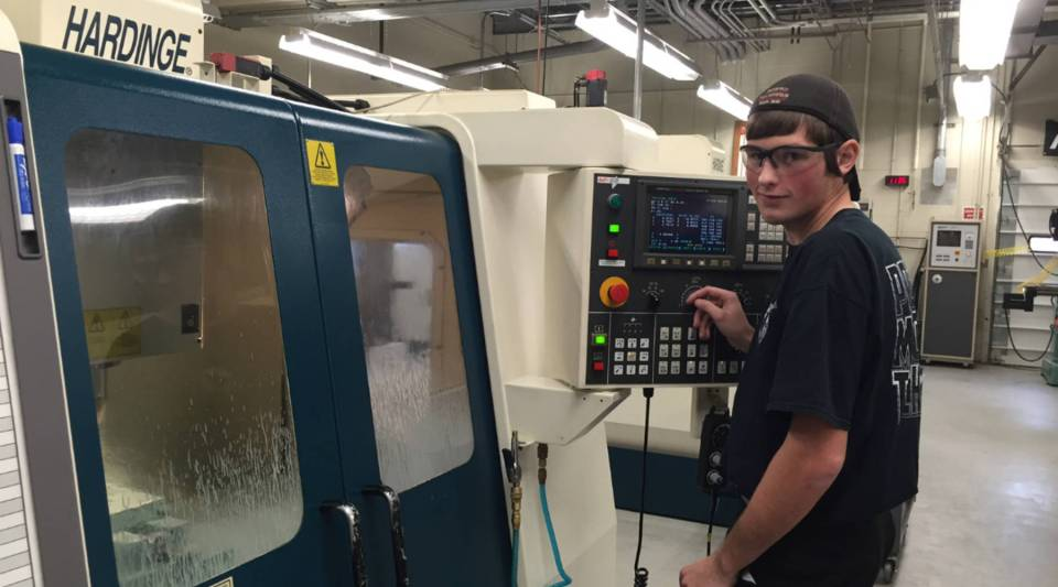 Tim DeAcosta, 17, studies precision machining at Berks Career and Technology Center near Reading, Pa.